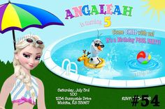 20 Disney Frozen Invitation Pool Party - SUMMER Birthday Invitations - (includes envelopes) Frozen Invitation on Etsy, $20.00
