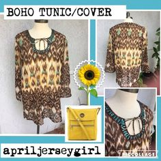 SHEER BEADED BOHO TUNIC/SWIM COVER All sheer and  long (tunic style) this top can be worn with a cami, as a mini dress or over a bathing suit..so pretty with brown turquoise and a splash of mustard yellow...has a tie in front and beading with sequins around front..( free  with purchase!) Tops Tunics