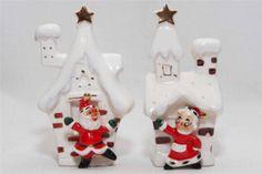 Vtg Mr Mrs Santa Claus Snow Covered Houses Xmas Salt Pepper Shakers Ceramic | eBay