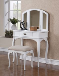 3 PC Vanity Set Make Up Table with 1 Drawer, Stool and Mirror in White