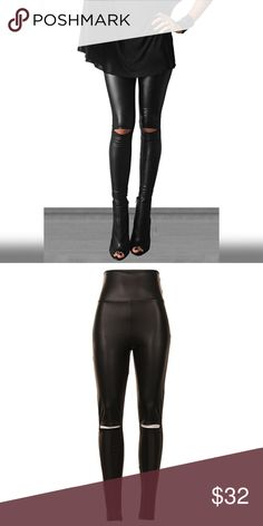 Leggings High Waist Knee Cutout Faux Leather Leggings. A must have for this fall 🙌🏽 Pants Leggings