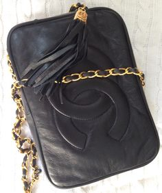 3f0e465f53ae9 Large vintage 1970s Chanel quilted black kid leather bag with logo ...