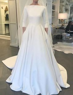 Long Sleeves A-line Satin Wedding Dress Bridal Dresses Vestidos de Novia BDS0561