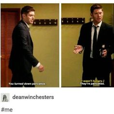Dean Winchester, ladies and gents Destiel, Jared Padalecki, Misha Collins, Jensen Ackles, Supernatural Memes, Supernatural Gabriel, Spn Memes, Supernatural Pictures, Fangirl