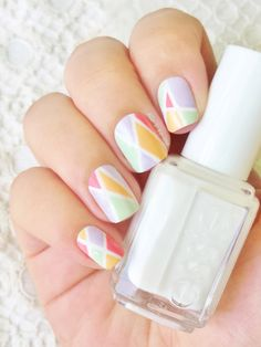 Essence : Blow my mint Essence : Lovely lavender Essence : Blooming tender Essence : Chaising lacy Essie : Blanc Cute Nail Art Designs, Gel Nail Designs, Awesome Designs, Easy Nail Art, Cool Nail Art, Hair And Nails, My Nails, Color Block Nails, Nails 2016