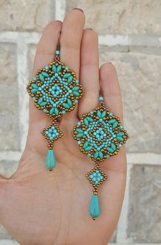 Earrings Mosaic beading pattern