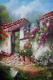 Painting by a Talented Mexican Artist. Italian Villa, Beautiful Paintings, Belle Photo, Pretty Pictures, Love Art, Painting Inspiration, Landscape Paintings, Amazing Art, Watercolor Art