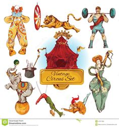 Circus Vintage Colored Icons Set - Download From Over 37 Million High Quality Stock Photos, Images, Vectors. Sign up for FREE today. Image: 41817282