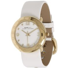 Marc by Marc Jacobs MBM1150 - Amy Leather (2,965 MXN) ❤ liked on Polyvore featuring jewelry, watches, fashion watches, marc by marc jacobs, polka dot watches, white face watches, marc by marc jacobs watches y leather jewelry
