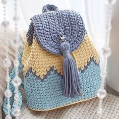 Ideas For Crochet Basket Pattern Chunky Crochet Backpack Pattern, Free Crochet Bag, Crochet Basket Pattern, Knit Crochet, Crochet Bags, Crochet Handbags, Crochet Purses, Crochet Crafts, Crochet Projects