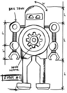 Tim Holtz Rubber Stamp 2015 ROBOT 1 SKETCH Stampers Anonymous P42632