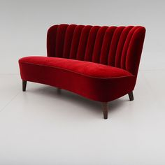 Mid Century Club Sofa | Red Velvet