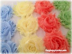 Shabby Rose Trim Mix 12 Fabric Flowers, Wholesale Fabric Flowers for weddings, headbands, shoes, and more by TheGimpyHooker Diy Headband, Headbands, Flowers Wholesale, Fabric Flowers, Wedding Flowers, Shabby, Weddings, Rose, Unique Jewelry