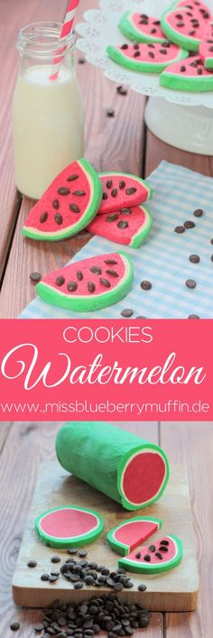 Cute watermelon cookies <3 las semillas pudiesen ser chipas de chocolate entre la masa roja, en la envoltura de esta