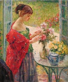 ⊰ Posing with Posies ⊱ paintings of women and flowers - Richard E. Miller