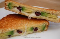 Cranberry Avocado Grilled Cheese. Wow, use whole wheat bread.