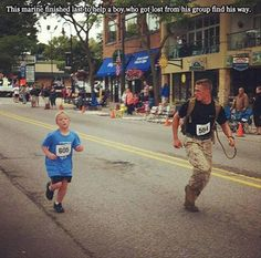 This marine finished last because he chose to help a boy who got lost from the group to find his way