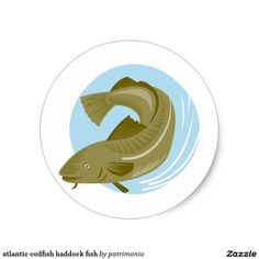 atlantic codfish haddock fish classic round sticker. Classic round sticker with an illustration of an Atlantic cod viewed from side set inside a circle done in retro style. #cod #haddock #sticker