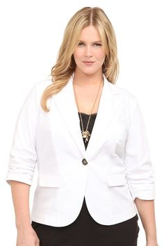 White Basic Blazer -- I'll start with a basic blazer to keep the look structured and nip in my waist. #MyTorridSummer