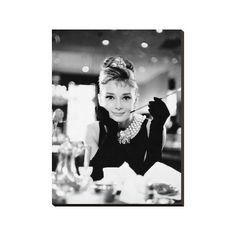 Audrey Hepburn -Breakfast at Tiffanys B&W Canvas Wall Art Print -... ($52) ❤ liked on Polyvore featuring home, home decor, wall art, interior wall decor, movie wall art, audrey hepburn wall art, stretched canvas and mounted wall art