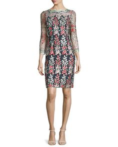Garland+Wisteria-Embroidered+Sheath+Dress,+Black/Multi+by+ERIN+erin+fetherston+at+Neiman+Marcus.
