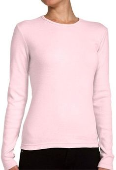 07be37094b7 Look fashionable yet elegant with Ladies Crewneck Long Sleeve Ribbed T-Shirt.  At just