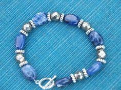Pyrite and Sodalite bracelet by HorstOfCourse on Etsy