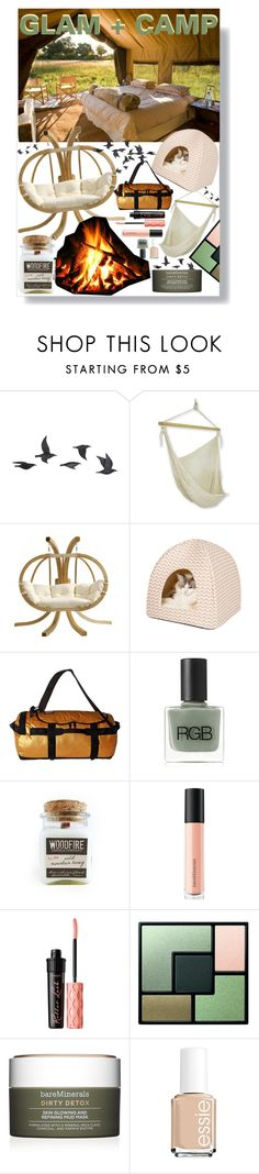 """""""Camp Lua"""" by xoxolua ❤ liked on Polyvore featuring Jayson Home, NOVICA, The North Face, RGB, Bare Escentuals, Benefit, Yves Saint Laurent, Essie and glamping"""