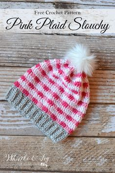 FREE Crochet Pattern: Pink Crochet Plaid Slouchy   Make this gorgeous plaid hat in 4 pretty colors for a beautiful color effect.