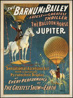 "Antique Circus Poster ""Jupiter the Balloon Horse"" Vintage Americana Carnival Print - Victorian Steampunk Art - Hot Air Balloon - Horse Art by missquitecontrary on Etsy (null) Carnaval Vintage, Cirque Vintage, Vintage Carnival, Old Circus, Circus Art, Circus Theme, Barnum Circus, Pt Barnum, Circus Clown"