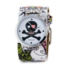 @Overstock.com - This Nemesis women's Heart Skull tattoo band features a silver skull with pink heart eye and cross bones on a white dial. This watch comes with a 100-percent USA made genuine white leather band with floral designs on the side.http://www.overstock.com/Jewelry-Watches/Nemesis-Womens-Punk-Rock-Heart-Skull-Tattoo-Leather-Watch/5862657/product.html?CID=214117 $38.49