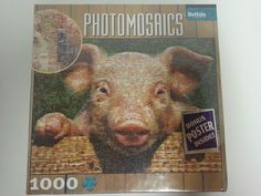 Robert Silvers Photomosaic Discontinued Pig Puzzle w Bonus Poster inside 1000 pc