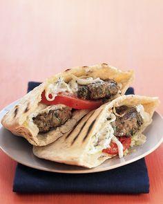 Mini Greek Lamb Burgers - Martha Stewart Recipes. Satisfies my gyro craving at home.
