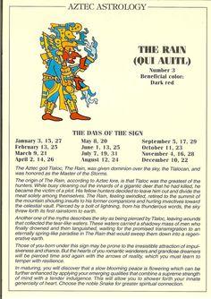 Zodiac Unlimited Aztec astrology postcard: The Rain