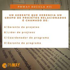 PMWAY RECICLA - Essa semana começaremos a postar questões relacionadas ao gerenciamento de projetos para ajudar você no seu dia a dia.  PERGUNTA: Um gerente que gerencia um grupo de projetos relacionados é chamado de?  RESPOSTA: Será postada aqui na próxima semana. (Deixe a sua resposta nos comentários) . . . INSCREVA-SE NO NOSSO SITE . . . #pmwayrecicla #gerenciamentodeprojetos #projectmanager #pmway #projectmanagement #amomeutrabalho #business #carreira #instajob #instaday #job…
