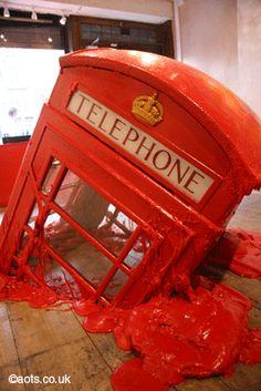 Banksy melting phone box