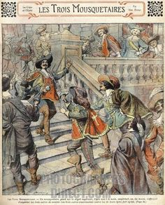 the three musketeers / les trois mousquetaires by alexandre dumas . early 20th century illustration from magazine of popular novels . ( originally published in le siècle between march and july 1844 ) stock photo