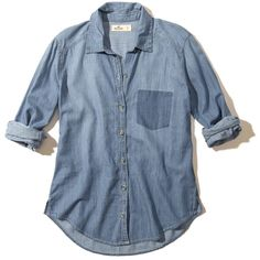 Hollister Shadow Pocket Chambray Shirt ($20) ❤ liked on Polyvore featuring tops, shirts, blusas, denim, blue top, pocket shirts, chambray top, button front shirt and blue shirt
