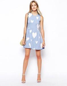 ASOS Skater Dress in Pastel Heart Print