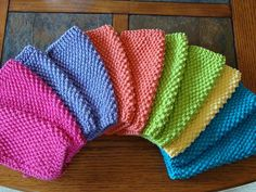 Simple seed stitch dishcloths. Approximately 7 in by 7 in. 1 skein makes two dishcloths in my gauge. Size 7 needles. Method CO 33 stitches Row 1 - 3: Knit across Row 4: K3, *p 1, k 1; repeat from * to last 4 stitches, p1, k3 Row 5 – 44: Repeat Row 4 Row 45 – 47: Knit across Row 48: BO all stitches: