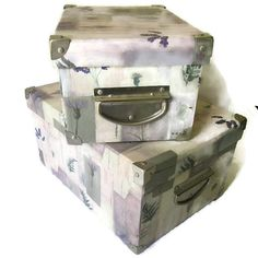 Two storage boxes stackable with metal by LizHenzeWithStyle