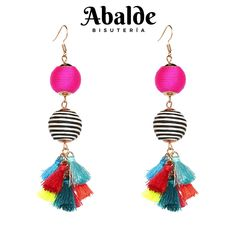 d2e165be6063 Pendientes Mujer Cascada Coloridos Flecos Borla Moda Accesorio Regalo ideal  Boho