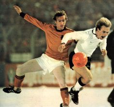 West Germany 3 Holland 1 in Dec 1978 Düsseldorf. Johan Neeskens challenges Karl-Heinz Rummenigge in the snowy conditions #Friendly