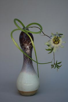 Garlic scapes from the Dupont Circle Farmer's Market, and passionflower vine from my urban garden. They worked so well with this beautiful ceramic vase. Ikebana Flower Arrangement, Ikebana Arrangements, Beautiful Flower Arrangements, Floral Arrangements, Art Floral, Floral Design, Ikebana Sogetsu, Japanese Flowers, Kintsugi