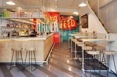 Shed designed the London-based fried chicken eatery, Wishbone, located in Brixton's indoor market.