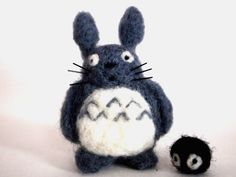 Needle Felted Totoro with Dust Bunny Inspired by by HoneyBeeLoved. Honey Bee Loved [Oregon] - https://HoneyBeeLoved.etsy.com