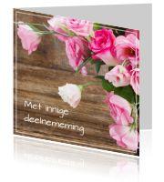 #Moderne #condoleance #kaart met een #afbeelding van #roze #rozen en op de #achtergrond zie je #hout. Wist u dat u kunt alle #ontwerpen naar uw zin kunt #aanpassen? U kunt ook #eigenfoto's toevoegen, items weglaten, kleuren aanpassen... We denken graag met u mee. Mailt of belt u ons voor persoonlijk advies via info@daglief.nl of 010 511 33 40 (tijdens kantooruren).