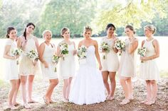 Mix & match Bridemaid dress will continue to be a fun wedding trend in 2016 #weddingtrend