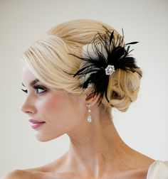 Bridal Fascinator, Wedding Hair Accessory, Feather Fascinator, Black Fascinator - DELPHINE. Etsy.   I ordered this for my wedding!