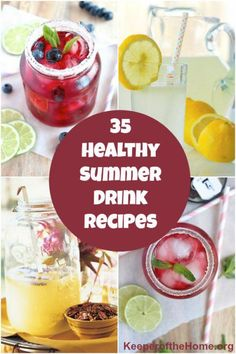 Summer always seems to be a great time for enjoying delicious beverages. There's something about sipping a tasty drink on a hot day that's just so pleasant. Here's 35 recipes for summer drinks that not only will quench your thirst, they're healthy too! Summer Drink Recipes, Easy Drink Recipes, Summer Drinks, Whole Food Recipes, Healthy Recipes, Delicious Recipes, Refreshing Drinks, Cold Drinks, Healthy Cooking